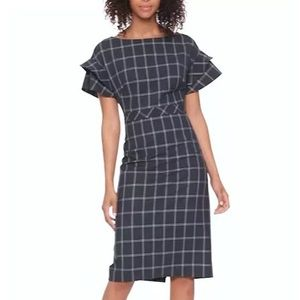 Banana Republic Tiered Sleeve Windowpane Dress
